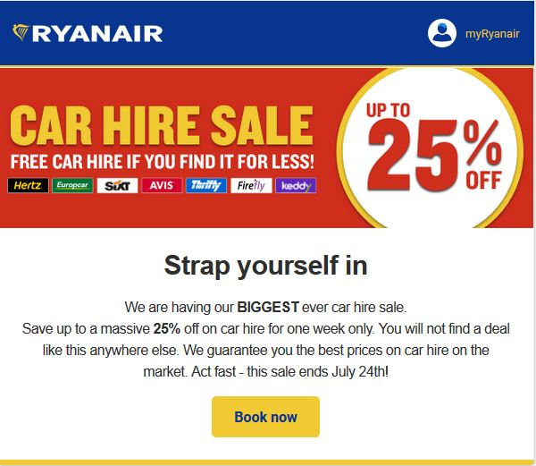 Ryanair Car Hire Sale